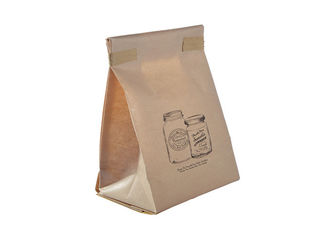 OEM Kraft Paper Side Gusset Bag , Waterproof Heat Seal Food Bags Flat Bottom