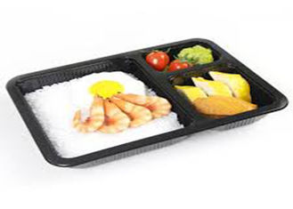 PLA Biodegradable Take Away Food Packaging , Disposable Foam Blister Compartment Meal Tray