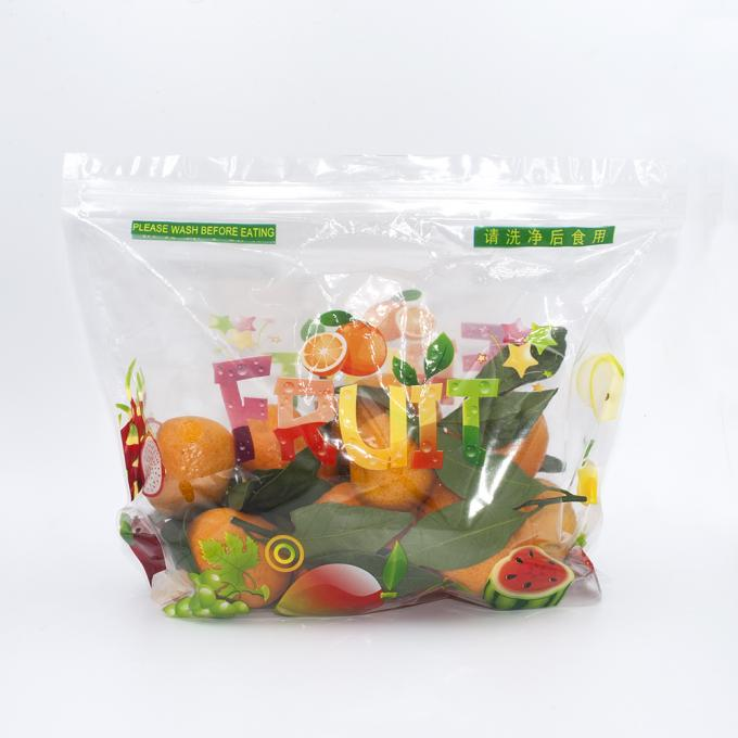 Zip Lock Fresh Organic Fruit Plastic Bag Moisture Proof Non Toxin With Holes / Handle