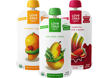 China Custom Printed Spout Pouch Packaging , Reusable Disposable Baby Food Pouches With Spout distributor