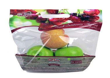 Custom Design Plastic Fruit Fresh Bags With Handle Venting Hole Gravure Printing