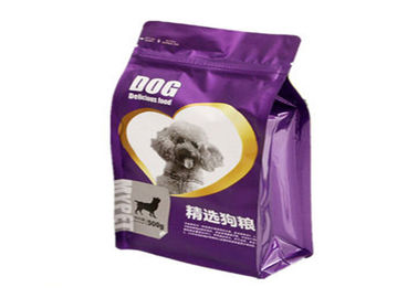 China Flat Bottom Pet Food Packaging Bag 8 Side Sealed  Plastic Laminated With Zipper For Dog distributor