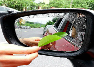 China Hydrophobic Car Mirror Sticker Rainproof Car Rearview Window , Anti Fog Coating PET Film Covers factory